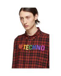 メンズ Balenciaga レッド And ブラック I Love Techno ノーマル フィット シャツ Red