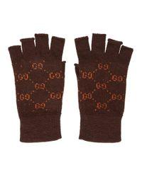 Gants sans doigts bruns et orange GG Supreme Gucci pour homme en coloris Brown