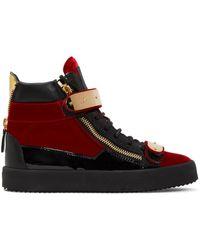Giuseppe Zanotti Red Velvet London High-top Sneakers for men