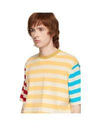 メンズ Sunnei マルチカラー ニット ストライプ T シャツ Multicolor
