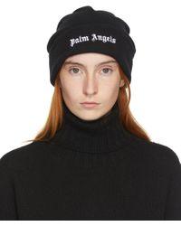 Palm Angels ブラック ウール ロゴ ビーニー Black