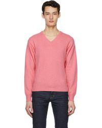 メンズ Tom Ford ピンク カシミア V ネック セーター Pink