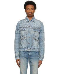 メンズ Amiri ブルー Banada Print トラッカー デニム ジャケット Blue