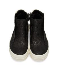 Rick Owens Black Island Dunk Combo High-top Sneakers for men