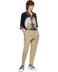 メンズ Dolce & Gabbana ブラック & ゴールド レザー ベルト Black