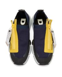 DIESEL - Blue Navy And Yellow S-padola Sneakers for Men - Lyst