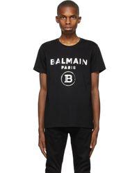 メンズ Balmain ブラック ロゴ T シャツ Black