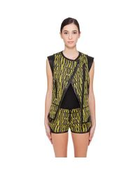 Barbara Bui Yellow & Black Leather Trimmed Vest