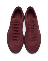 Common Projects - Red Original Achilles Suede Low-Top Sneakers - Lyst