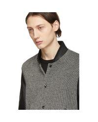Saint Laurent Black And Off-white Teddy Bomber Jacket for men