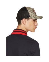Gucci - Brown Angry Cat Gg Supreme Baseball Cap for Men - Lyst