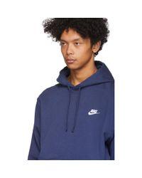 メンズ Nike ネイビー プルオーバー フーディ Blue