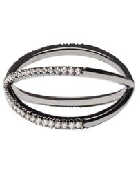 Eva Fehren - Blackened Gold Diamond Shorty Ring - Lyst