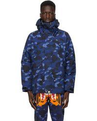 メンズ A Bathing Ape ネイビー カモ Snowboard ジャケット Blue