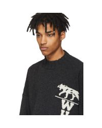 Off-White c/o Virgil Abloh - Gray Grey Panther Distressed Sweater for Men - Lyst