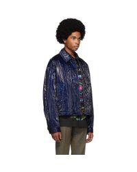 メンズ Dries Van Noten ブルー キルティング ジャケット Blue