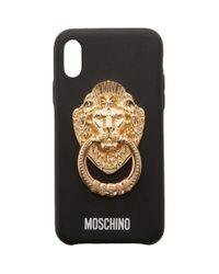 メンズ Moschino ブラック ライオン ヘッド ハンドル Iphone Xs ケース Black
