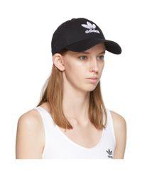 Adidas Originals ブラック トレフォイル ロゴ キャップ Black