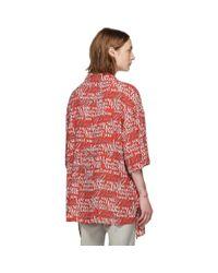 メンズ Balenciaga レッド And ホワイト Love シャツ Red