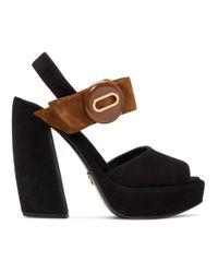 Prada Black & Brown Suede Button Platform Sandals