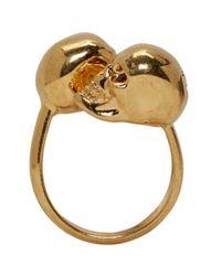 Alexander McQueen - Metallic Gold Twin Skull Ring - Lyst