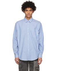 メンズ MSGM ブルー & ホワイト ストライプ シャツ Blue