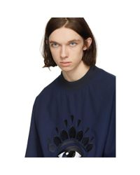 KENZO Blue Navy Eye Sweatshirt for men