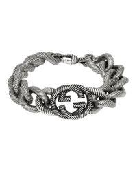 Gucci Metallic Silver Interlocking G Bracelet for men