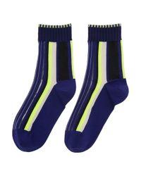 Issey Miyake - Blue Navy Lined Striped Socks - Lyst