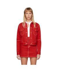 Off-White c/o Virgil Abloh Red Straight Denim Jacket