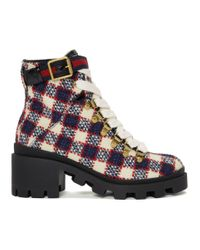 Gucci Red And White Check Tweed Ankle Boots