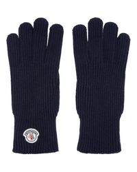 Moncler | Blue Navy Knit Gloves for Men | Lyst