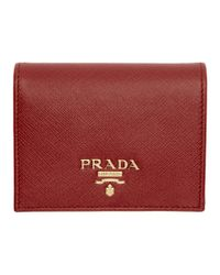 Prada - Red Saffiano French Wallet - Lyst