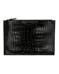 Givenchy ブラック クロコ ミディアム アンティゴナ ポーチ Black