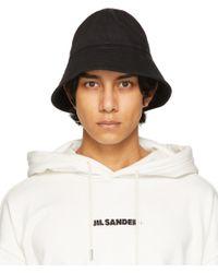 メンズ Jil Sander ブラック バケット ハット Black