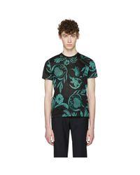 AMI   Black & Green Floral T-shirt for Men   Lyst
