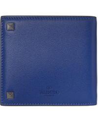 メンズ Valentino Garavani コレクション ブルー Rockstud バイフォールド ウォレット Blue