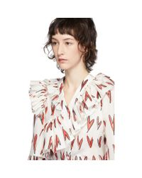 CHARLES JEFFREY LOVERBOY ホワイト And レッド シルク Rofl ハート プリント ブラウス Multicolor