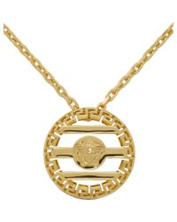 Versace Metallic Gold Round Cage Medusa Necklace for men