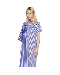 Facetasm ブルー And ホワイト ストライプ アシンメトリック シャツ ドレス Blue