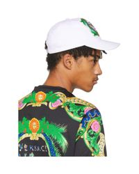 Versace White Embroidered New Signature Cap for men