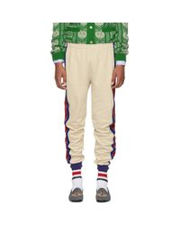 Gucci Beige And Blue Striped Lounge Pants for men