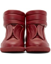 Maison Margiela Red Future Soft Leather High Top Sneakers for men