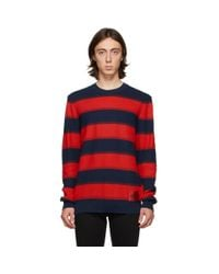 HUGO Blue Navy And Red Striped Sanor Sweater for men