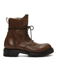 Rick Owens Brown Low Army Boots for men