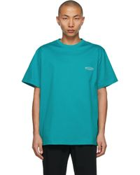 T-shirt à logo brodé bleu Wooyoungmi pour homme en coloris Blue