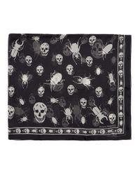 Foulard noir Scarab Skulls Alexander McQueen pour homme en coloris Black