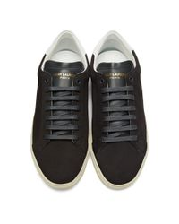 Saint Laurent Gray Grey Suede Court Classic Sl/06 Sneakers for men