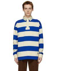 メンズ Gucci ブルー & ベージュ ストライプ ロング スリーブ ポロシャツ Blue