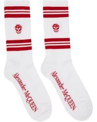 メンズ Alexander McQueen ホワイト & レッド ストライプ スカル スポーツ ソックス Red